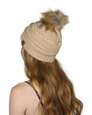 Gravity Threads Cable Knit Faux Fur Pom Pom Beanie Hat