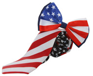 American Flag Bow and Neck Tie Combo Kit, Red White Blue