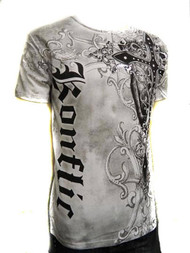 Konflic Cross Sword Crew Neck Cotton Men's Fashion T Shirt