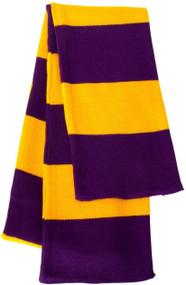 Sportsman - Rugby Striped Knit Scarf, Purple Gold