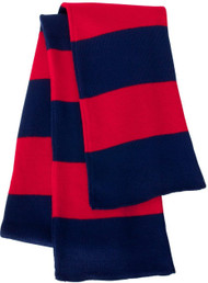 Sportsman - Rugby Striped Knit Scarf, Navy Red