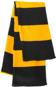 Sportsman - Rugby Striped Knit Scarf, Black Gold