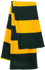 Sportsman - Rugby Striped Knit Scarf, Forest Gold