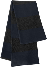 Sportsman - Rugby Striped Knit Scarf, Navy Charcoal