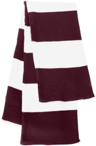Sportsman - Rugby Striped Knit Scarf, Maroon White