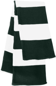 Sportsman - Rugby Striped Knit Scarf, Forest White
