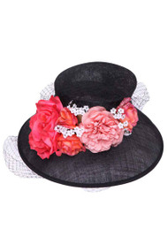 Womens Fashion Floral Bucket Sun Hat w/ Veil