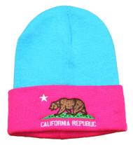 Cali Bear Republic Two Tone Cuffed Beanie - Pink and Teal