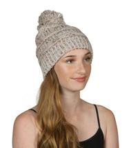 Gravity Threads Warm Cable Knit Thick Soft Beanie w/ Pom