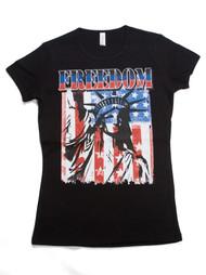Womens US Flag w/ Lady Liberty Short-Sleeve T-Shirt