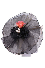 Womens Fashion Veiled Fascinator w/ Floral Design