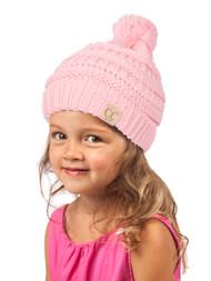 Gravity Threads  Kids Cable Knit Thick Soft Beanie w/ Pom