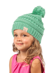 Gravity Threads  Kids Cable Knit Thick Soft Beanie w/ Pom