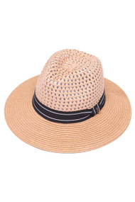 Fashion Wide Brim Fedora w/ Marked Panels