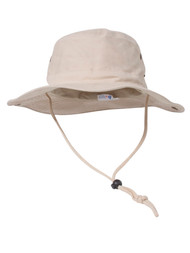 MG Men's Brushed Cotton Twill Aussie Side Snap Chin Cord Hat - Natural
