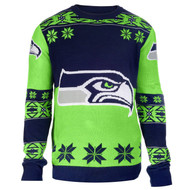 Football 2015 Big Logo Ugly Crew Neck Holiday Sweater - Seattle Seahawks