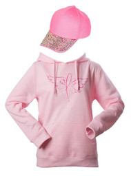 Breast Cancer Awareness Kit - Winged Ribbon Hoodie + Baseball Cap