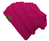 Thick Soft Knit Oversized Beanie Cap Hat, Hot Pink