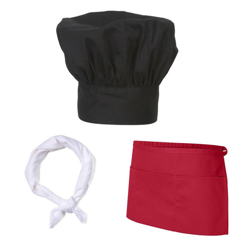 Classic Cook Chef Works Hat and Bandana, White Half Apron