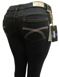 Women's Omega Skinny Stretch Jeans- Criss Cross 1