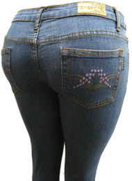 Women's Omega Skinny Stretch Jeans- Hippie Flower 15