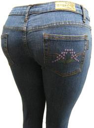 Women's Omega Skinny Stretch Jeans- Hippie Flower 15