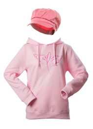 Breast Cancer Awareness Kit - Winged Ribbon Hoodie + Newsboy Cap - Large