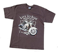 Live to Ride Motorcycles Chopper Skull Motorcycle T-Shirt