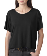 Bella - Ladies' Flowy Boxy Cropped Crewneck T-Shirt