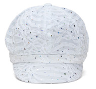 Top Headwear Women's Glitter Sequin Trim Newsboy Style Relaxed Fit Hat Cap