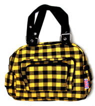 Clover Tote Pockets Style Hand Bag Checkered Yellow Black With Britain Flag Tag