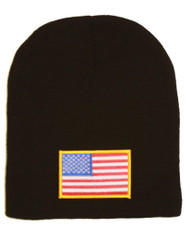 Delux 3D Patch Embroidery Black Beanie United States of America Patriotic Flag