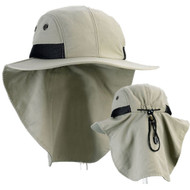 4 Panel Hiking Hat with Flap Wide Brim
