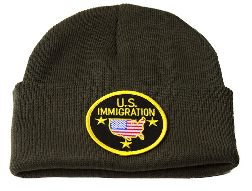 Delux  3D Patch Embroidery Olive Cuff Beanie U.S. Immigration