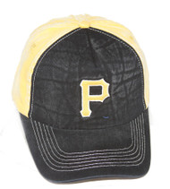Pittsburgh Pirates MLB Washed Cotton Snapback Hat, Black Yellow