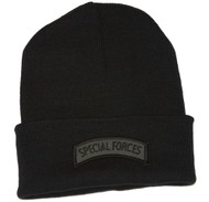 Delux Military 3D Patch Black Cuff Beanie Special Force