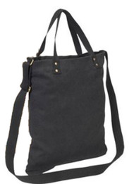 "17"" Cotton Canvas Tote Color: Charcoal"