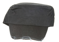 Classic Distressed Hook & Loop Adjustable Cadet Cap- Black