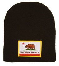California Republic 3D Patch Embroidery Black Beanie