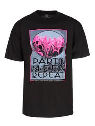 "Mens Black Short-Sleeve ""Party Sleep Repeat"" Concert T-Shirt"