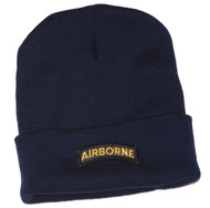 Delux Military 3D Patch Embroidery Navy Cuff Beanie Airborne