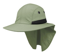 4 Panel Quick Dry Out Moisture Large Bill Flap Hat Sun Cap - Olive