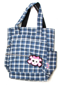 Clover Tote Chain Style Hand Bag - Blue and White Plaid with Cute Skull