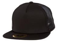 17c4921c PU Leather Mesh Trucker Adjustable Snapback Hat - Black - Gravity ...