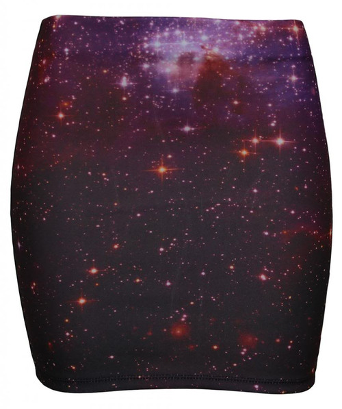 "Womens Galactic Nebula Mini Skirt (One Size: 16"" Length, 26"" Waist)"