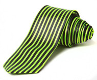 2' Trendy Skinny Tie  - Green Blank Vertical Stripe Thin