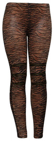 Brown Zebra Zippered Knees Ladies Leggings Shear Tights