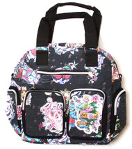 Clover Zipper Satchel Hand Bag - Black Hard Style Tattoo