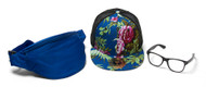 Men's Festival Accessory Kit w/ Floral Trucker, Fanny Pack and Clear Horn-Rimmed