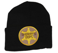3D Patch Embroidery Law Enforcement Black Cuff Beanie, Sheriff's Dept.
